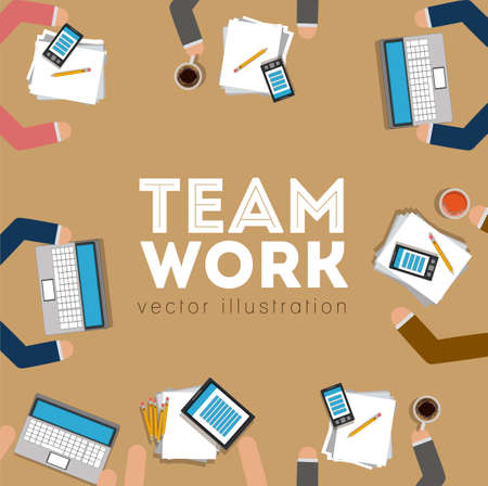 Teamwork design over brown background,vector illustration.