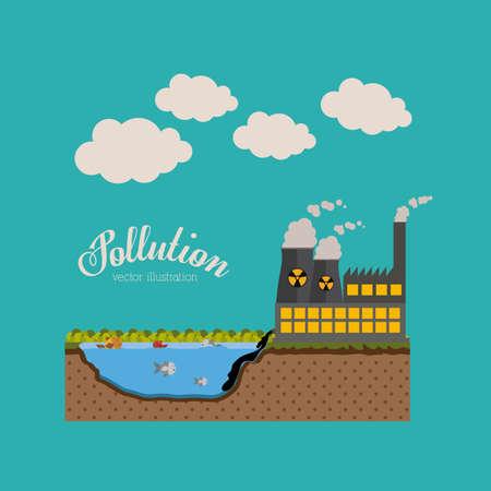 water contamination: Pollution design over blue background,vector illustration.