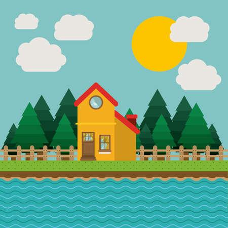 Landschap ontwerp, vector illustratie.