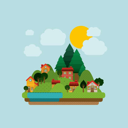 cartoon land: Landscape design, vector illustration. Illustration
