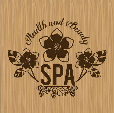 bamboo therapy: Spa design over wooden background,vector illustration.