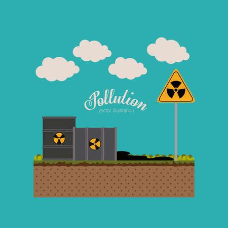toxic barrels: Dise�o de la contaminaci�n sobre el fondo azul, ilustraci�n vectorial. Vectores