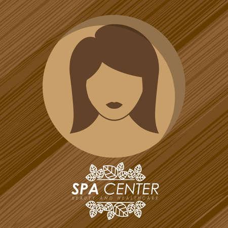 head massage: Spa design over wooden background, vector illustration.