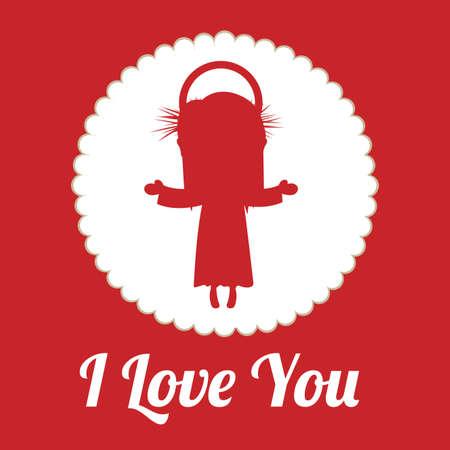 jesuschrist: Love design over red background, vector illustration. Illustration