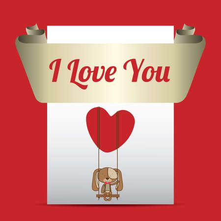 Love design over red background, vector illustration. Vector