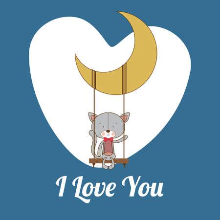te amo: Dise�o del amor sobre fondo azul, ilustraci�n vectorial.