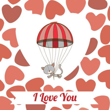Love design over hearts pattern background, vector illustration. Vector