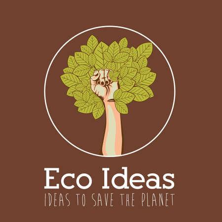 enviromental: Dise�o de Ecolog�a sobre fondo marr�n, ilustraci�n vectorial. Vectores