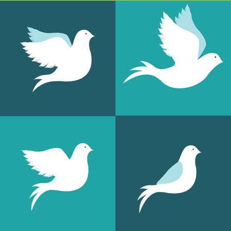 paloma de la paz: Dise�o de la paz sobre fondo azul, ilustraci�n vectorial.