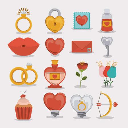 Romantic design over white background, vector illustration. Vector
