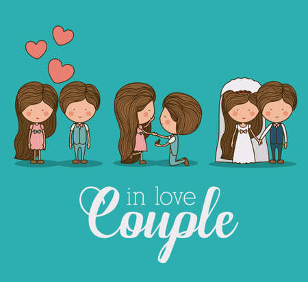 happy couple: Romantic design over blue background, vector illustration