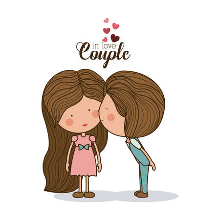 happy couple: Romantic design over white background, vector illustration