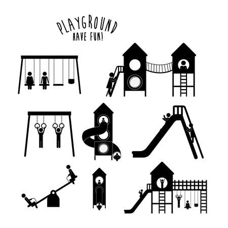 Projekt Plac zabaw na białym tle, ilustracji wektorowych.