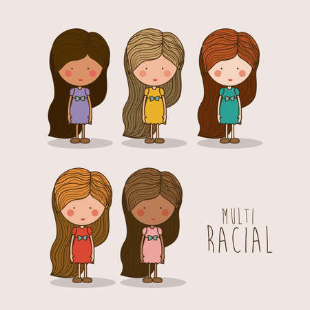 multiracial: Multiracial design over white background ,vector illustration.