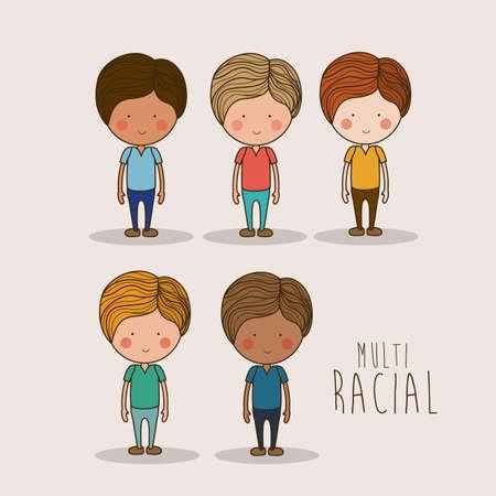 Disegno multietnico su sfondo bianco, illustrazione vettoriale. Archivio Fotografico - 35589349