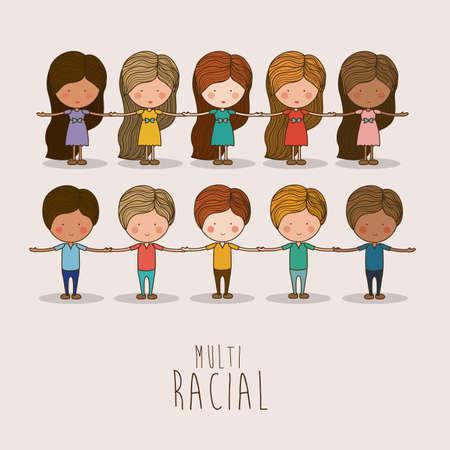 multirracial: Multi�tnico projeto sobre o fundo branco, ilustra��o vetorial. Ilustração