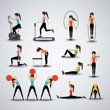 exercise machine: Fitness design over gray background, vector illustration.