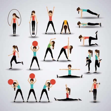 gymnastik: Fitness-Design auf grauem Hintergrund, Vektor-Illustration.