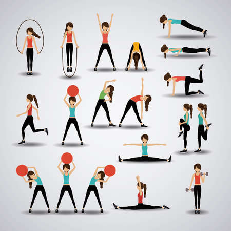 actions: Fitness design over gray background, vector illustration.