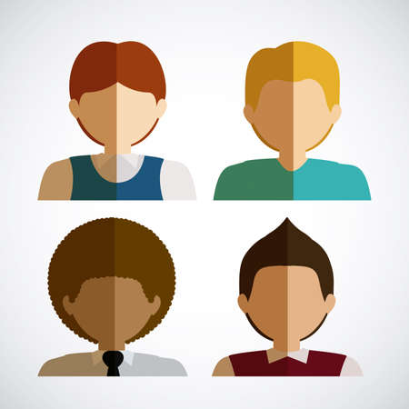 personal profile: People design over white background, illustration. Illustration