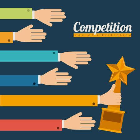 yarışma: Mavi arka plan üzerinde Yarışması tasarımı, illüstrasyon.