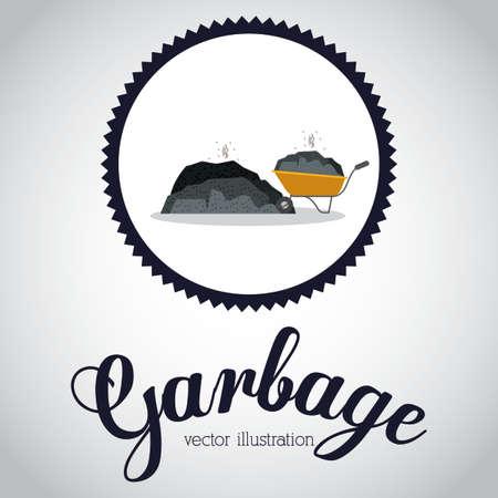 rubbish dump: Garbage design over white background, illustration.
