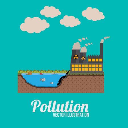 contaminacion ambiental: Diseño de la contaminación sobre el fondo azul, ilustración.