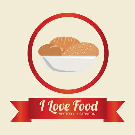 Food design over beige background, illustration. Vector