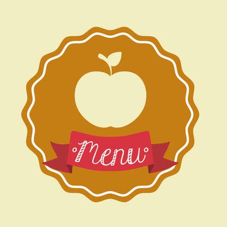 ailment: Food design over beige background, illustration.