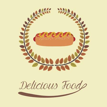 nutritive: Food design over beige background, illustration.