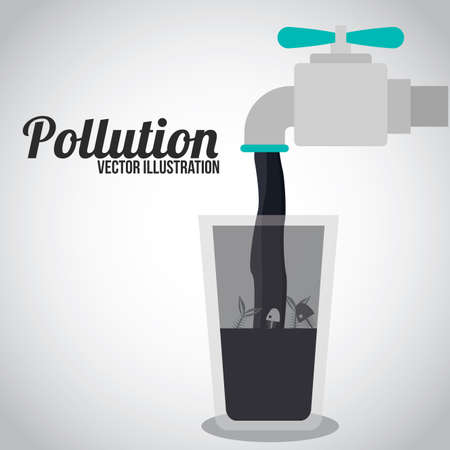 contaminacion del agua: Diseño de la contaminación sobre el fondo blanco, ilustración. Vectores