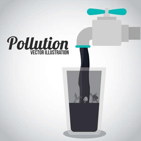 Pollution-Design auf weißem Hintergrund, Illustration.