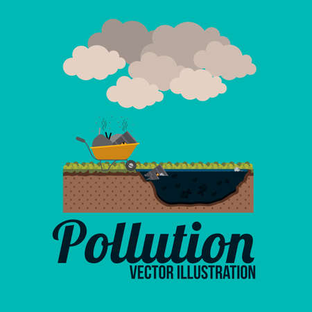 toxic cloud: Pollution design over blue background, illustration. Illustration