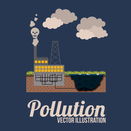 toxic cloud: Pollution design over blue background, illustration