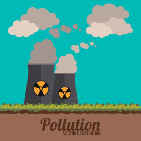 contamination: Pollution design over blue background, illustration. Illustration