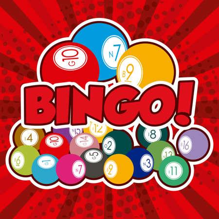 Bingo design over red background, vector illustration. Vector Illustration