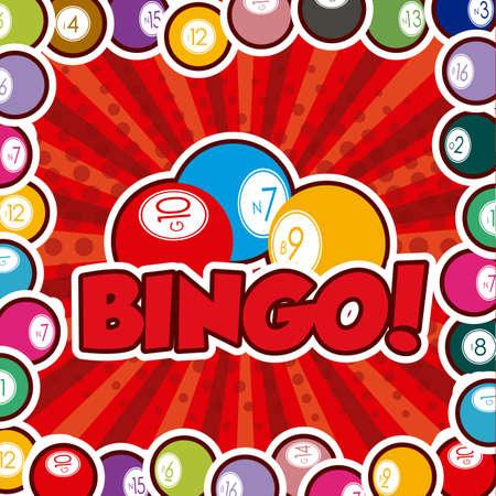Bingo design over red background, vector illustration.