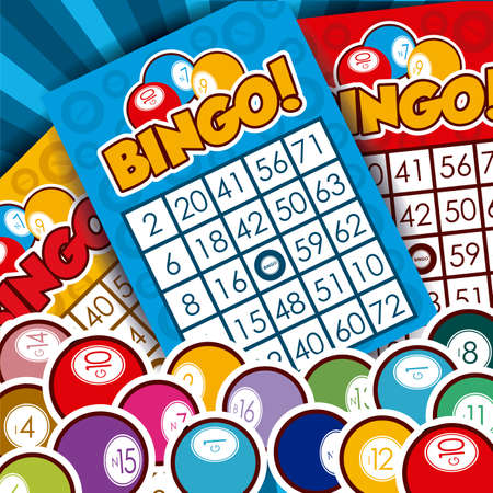 Bingo design over whiteb background, vector illustration. Иллюстрация