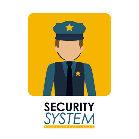 guardia de seguridad: Dise�o de seguridad sobre fondo blanco, ilustraci�n vectorial.