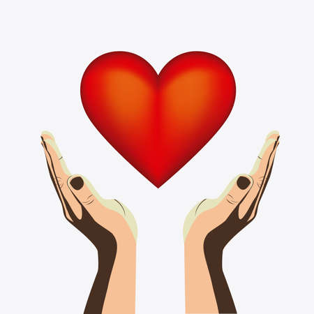 Hands with heart design over white background Illustration