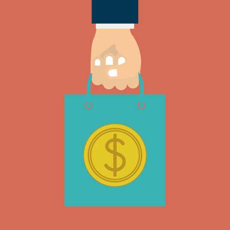 finger signals: Hands hold a money bag design over red background Illustration