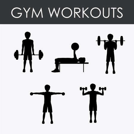 workouts: Fitness gym workouts design over white background Illustration