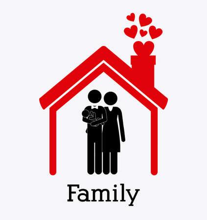 familiar: Family design over white background
