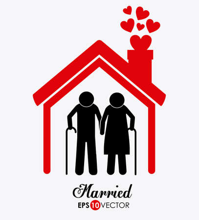Married couple design over white background