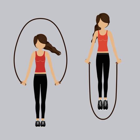 Conception de femme fitness sur fond gris