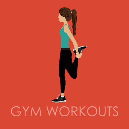 workouts: Fitness gym workouts design over red background