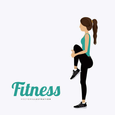 workouts: Fitness woman design over white background