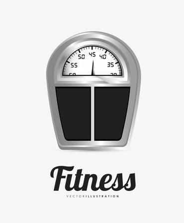over weight: Fitness weight design over white background Illustration