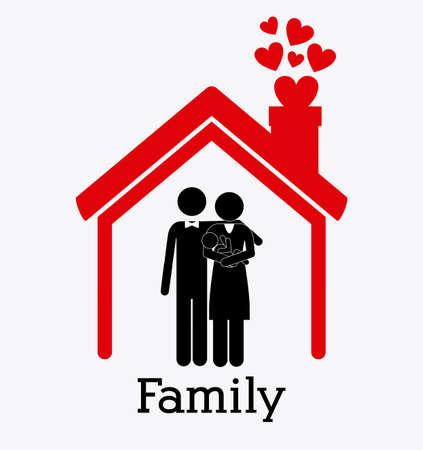 Family design over white background