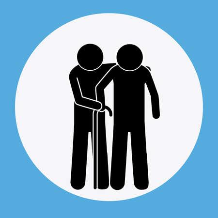 heterosexuality: Man and old man design over blue background Illustration